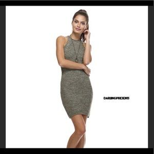 OLIVE GREEN KNITTED FIT ME DRESS